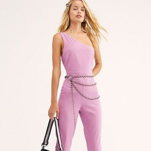 FREE PEOPLE LOOKING BACK PURPLE JUMPSUIT SHOULDER